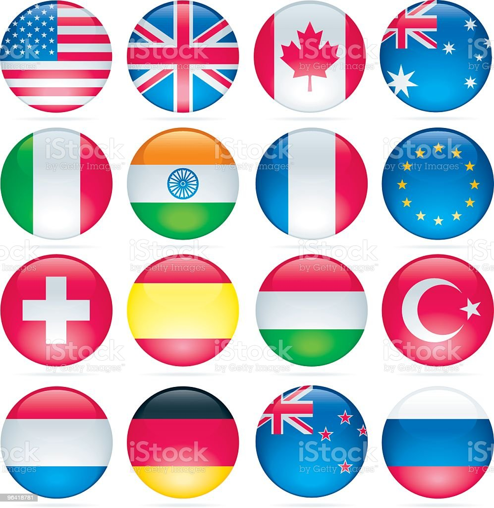 Glossy Flag Buttons royalty-free stock vector art