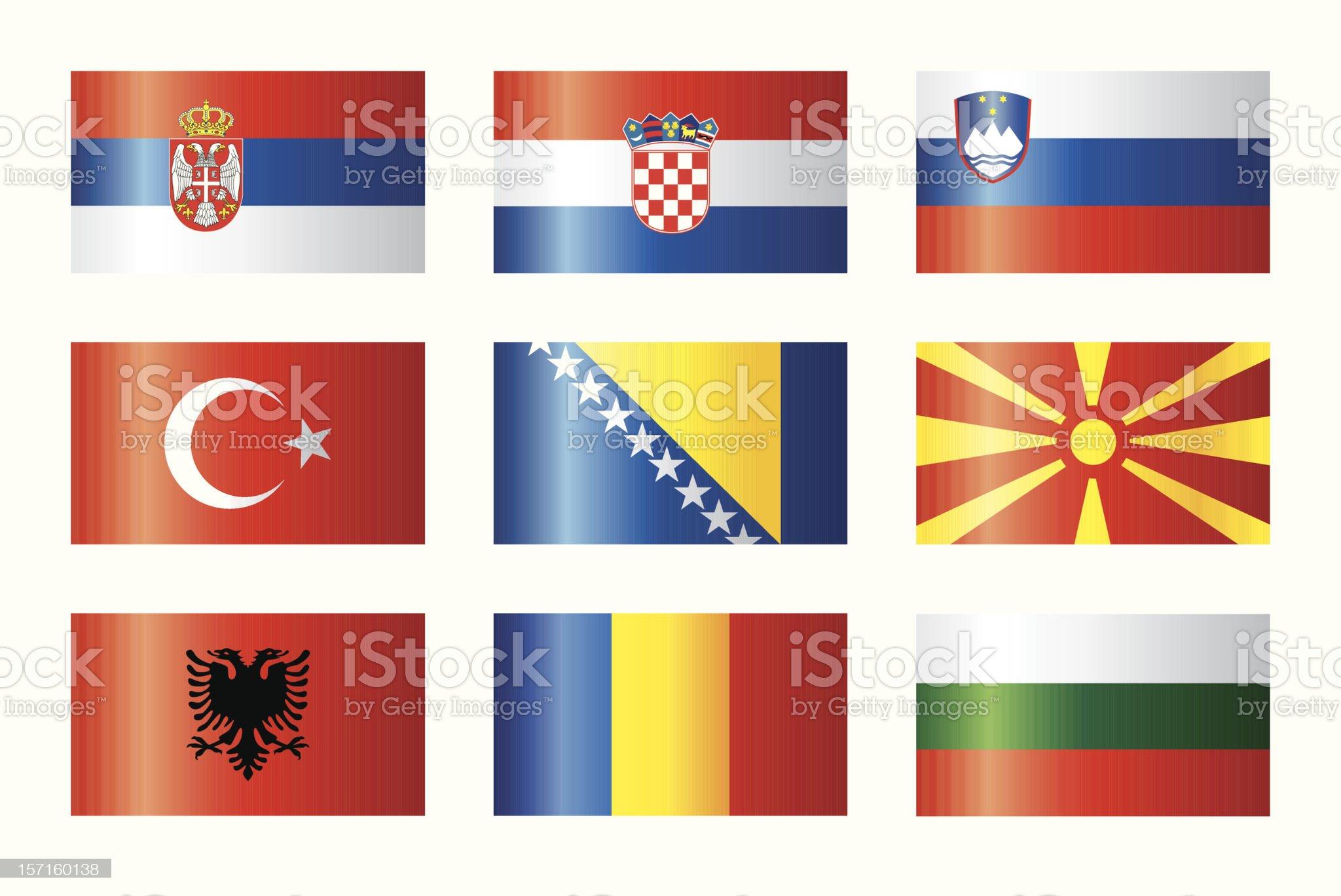 Glossy flags set - Balkan royalty-free stock vector art