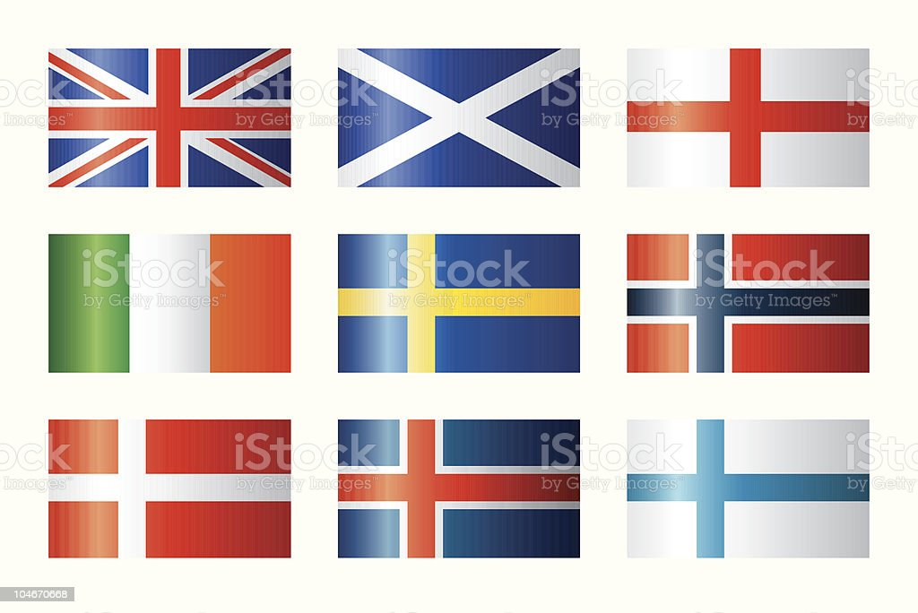 Glossy flags set - Britain & Scandinavia royalty-free stock vector art