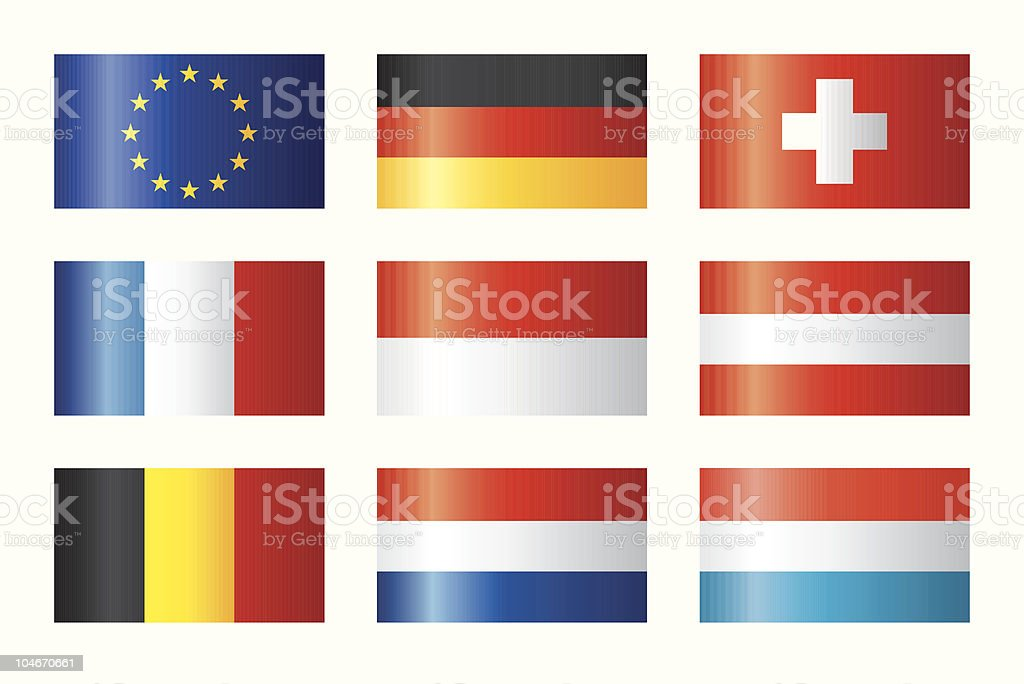 Glossy flags set - Central Europe royalty-free stock vector art