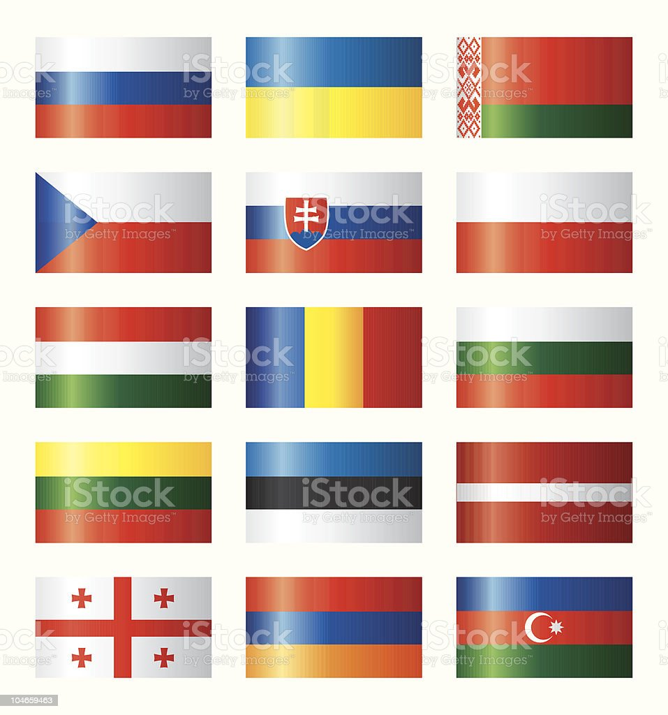 Glossy flags set - Eastern Europe royalty-free stock vector art