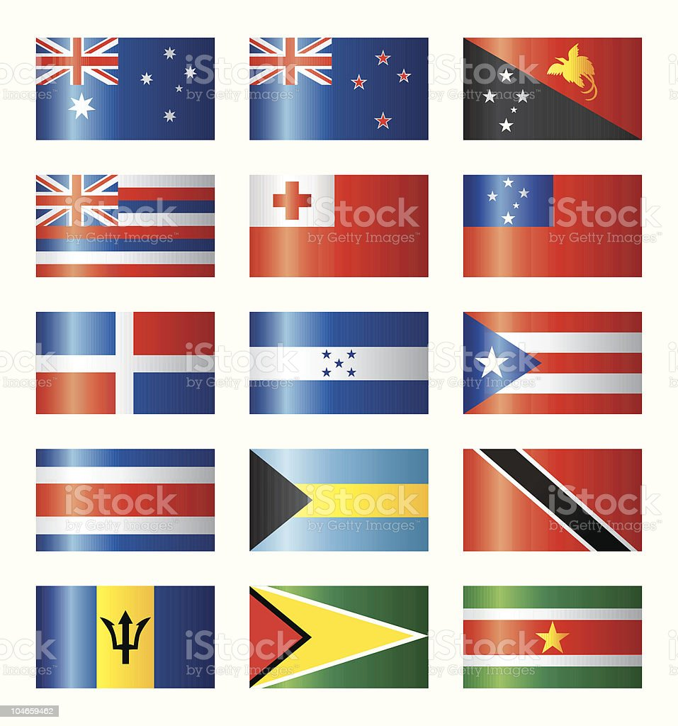 Glossy flags set, Oceania and Islands royalty-free stock vector art
