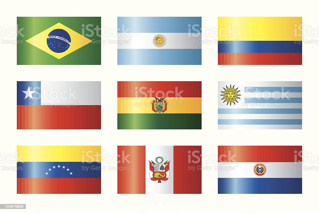 Glossy flags set - Southern America royalty-free stock vector art