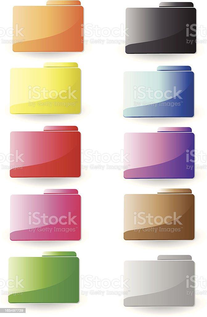Glossy Folder Set royalty-free stock vector art