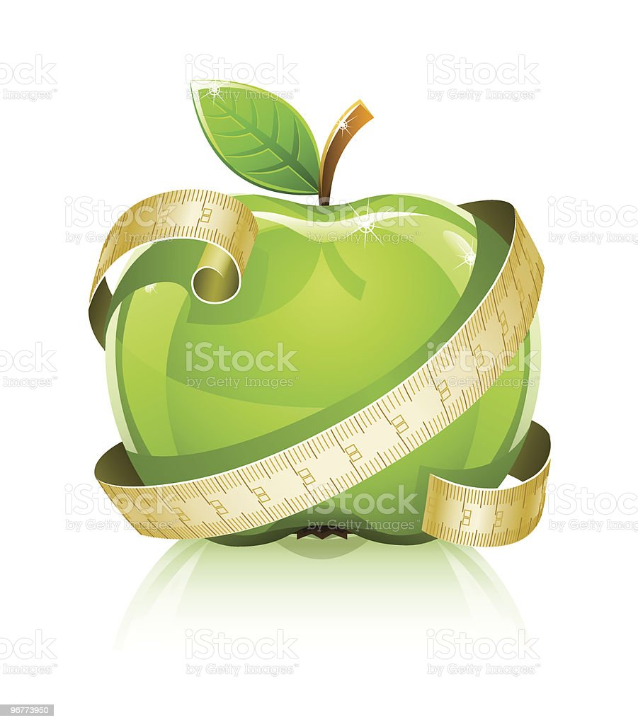 glossy glass green apple with measuring line royalty-free stock vector art
