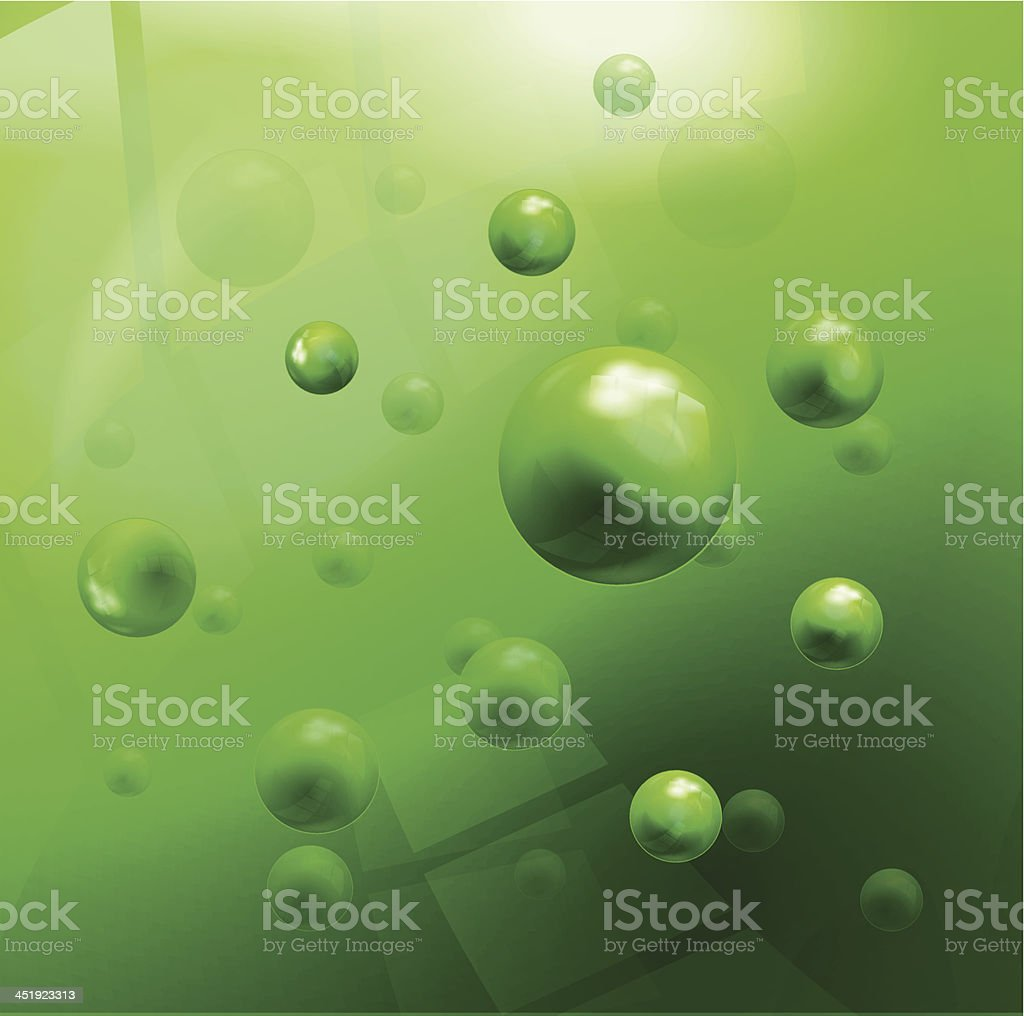 Glossy green molecules background royalty-free stock vector art