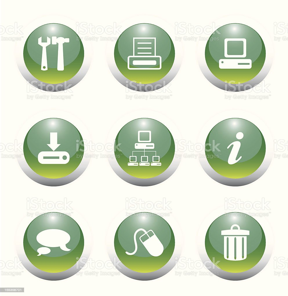 Glossy Green Web Icon Set-II vector art illustration