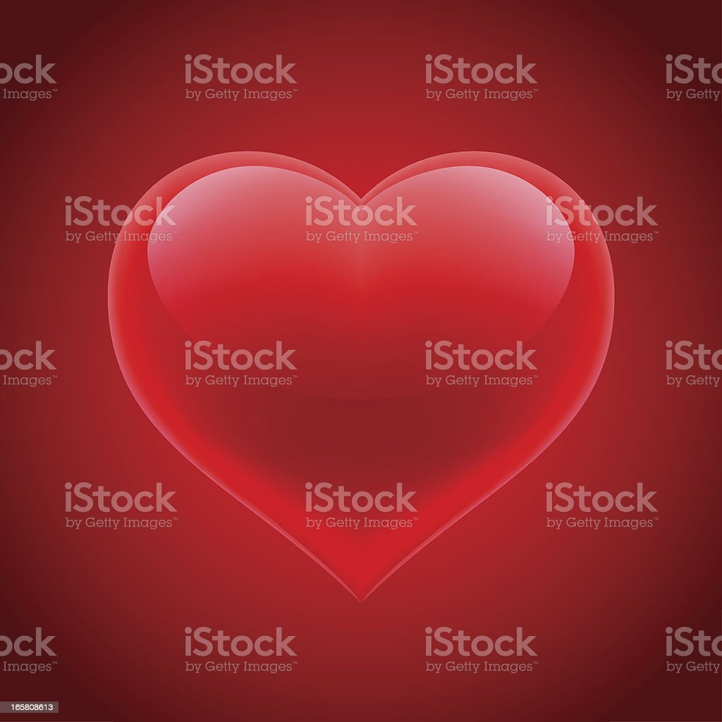 3D glossy heart on red background royalty-free stock vector art