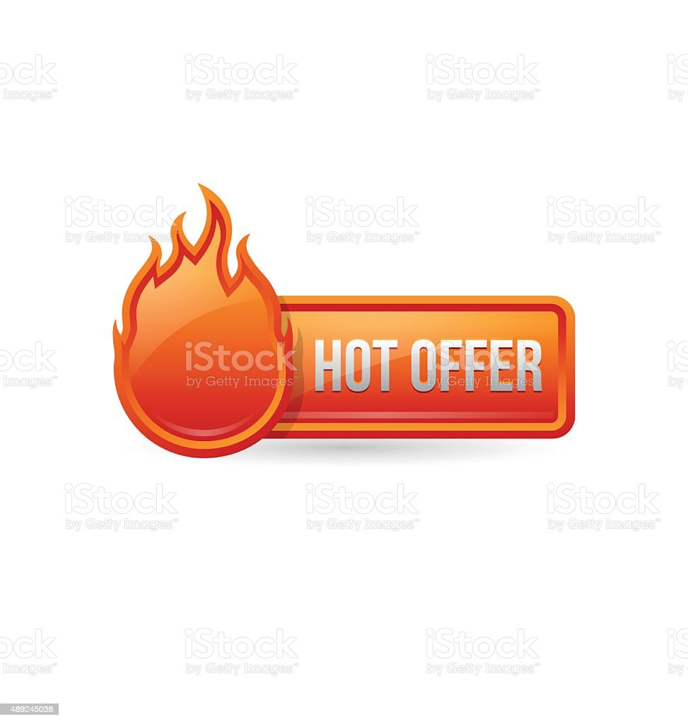 Glossy hot offer button with icon vector art illustration
