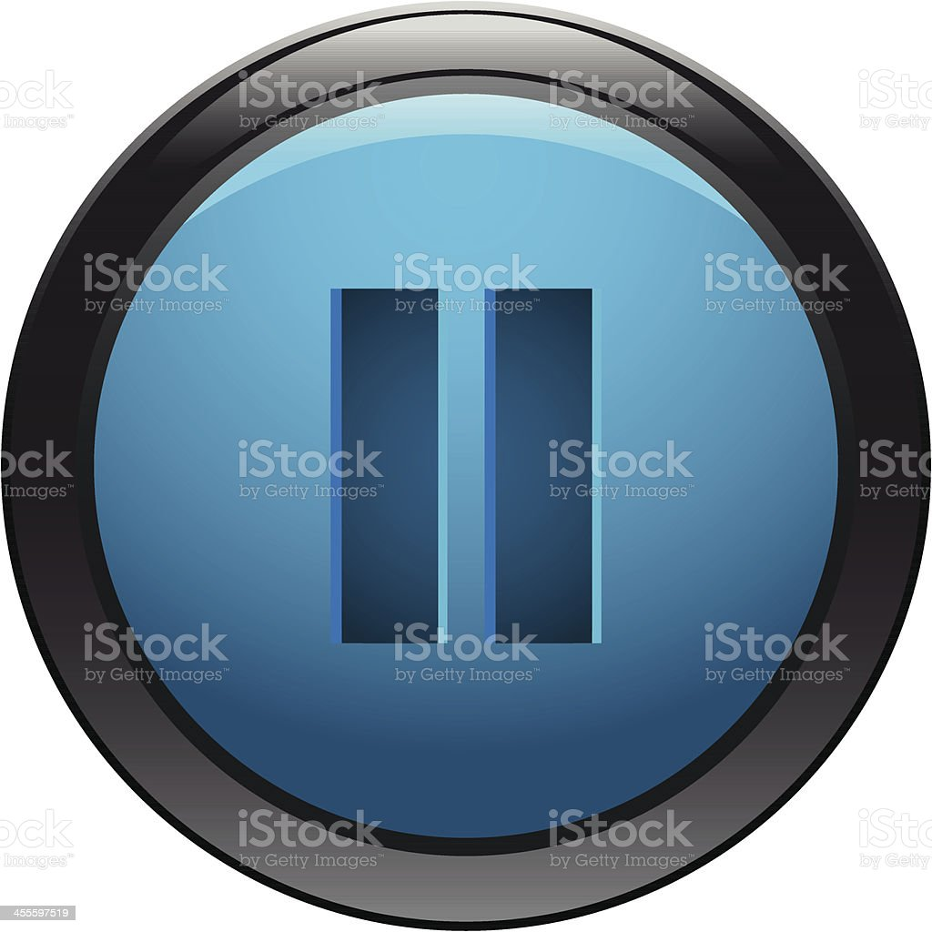 Glossy icon design for the pause button vector art illustration