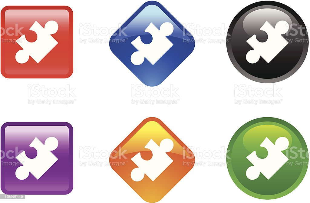 Glossy Icon Series | Puzzle royalty-free stock vector art