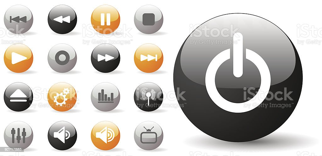 Glossy Icon Set for Media Player Controls royalty-free stock vector art
