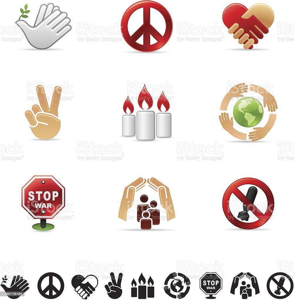glossy icon set - peace vector art illustration