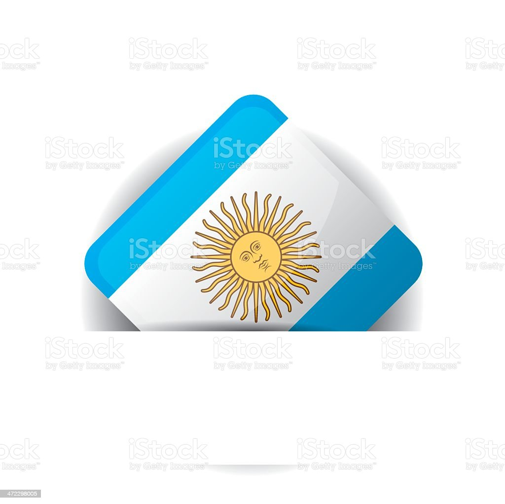 Glossy icon with Flag of Argentina in white pocket royalty-free stock vector art