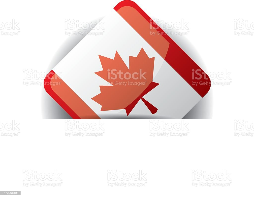 Glossy icon with Flag of Canada in white pocket royalty-free stock vector art