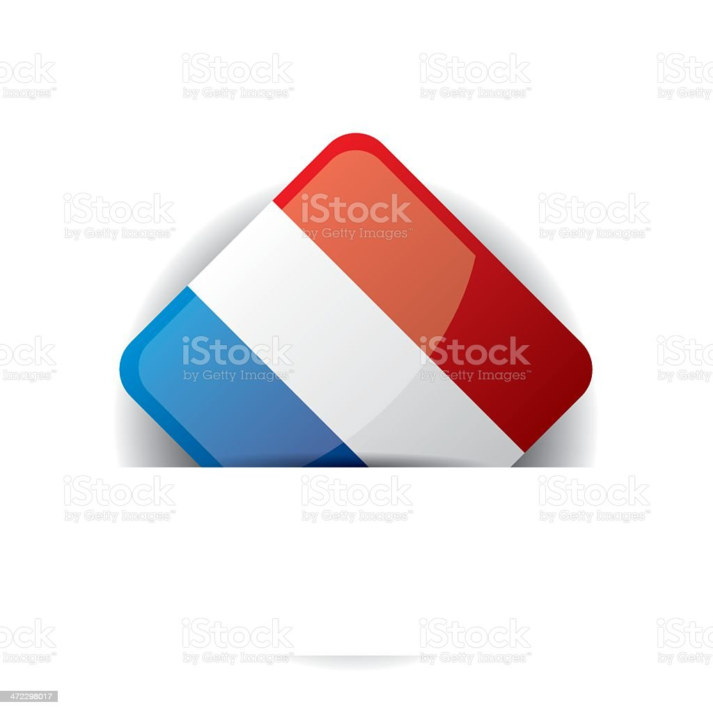 Glossy icon with Flag of France in white pocket royalty-free stock vector art