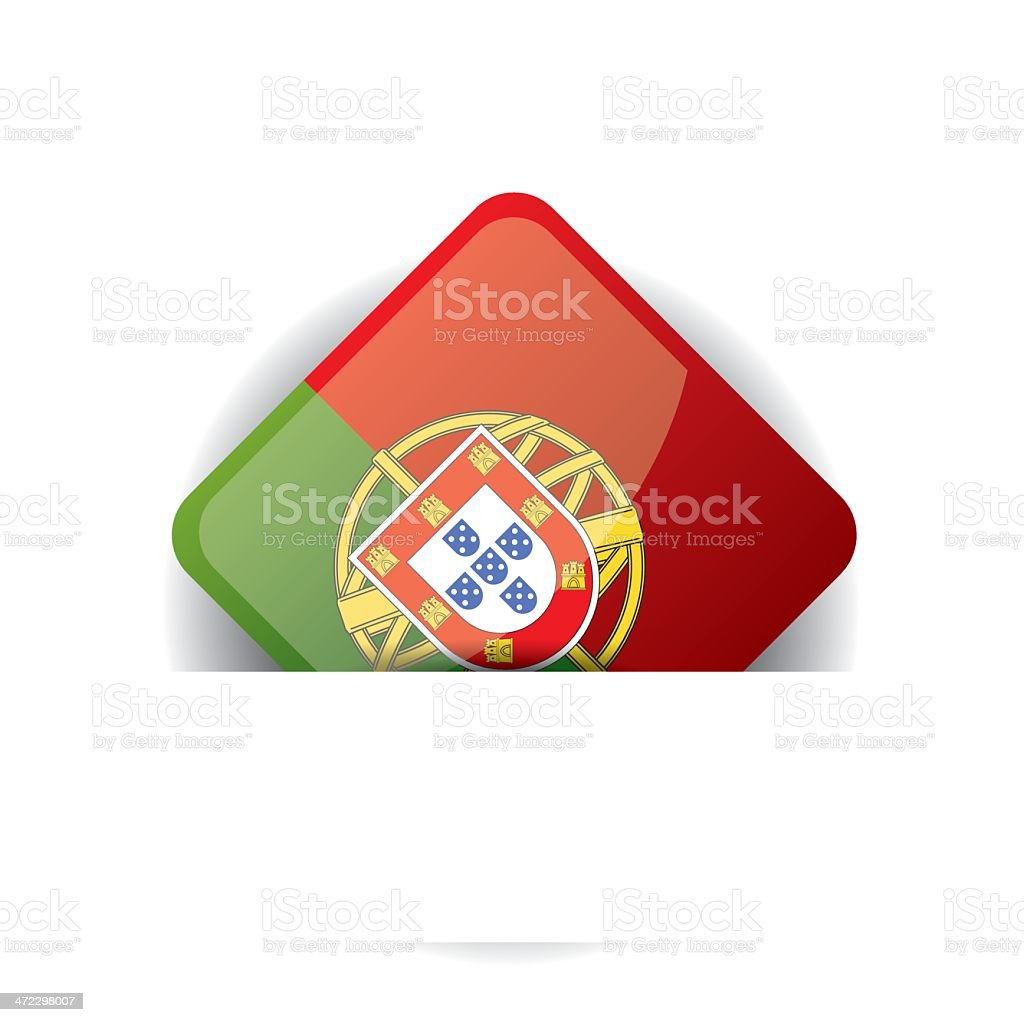 Glossy icon with Flag of Portugal in white pocket royalty-free stock vector art