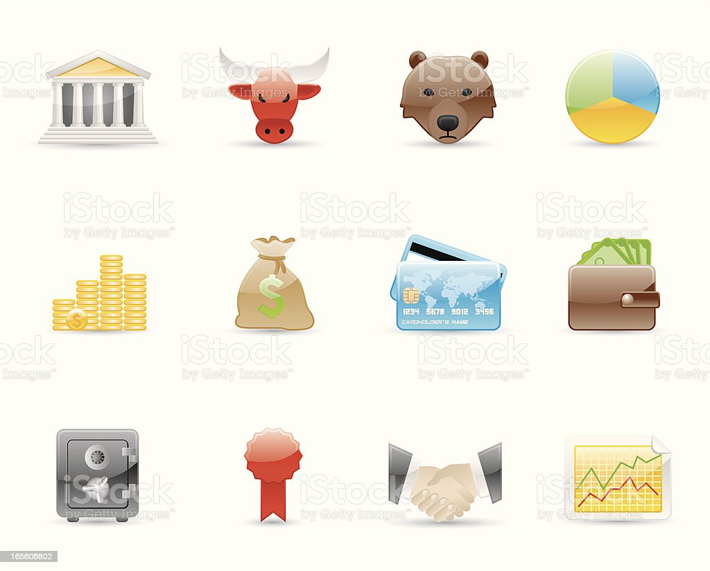 Glossy Icons - Finance royalty-free stock vector art