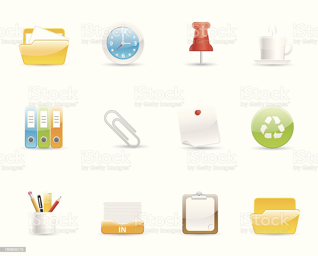Glossy Icons - Office royalty-free stock vector art