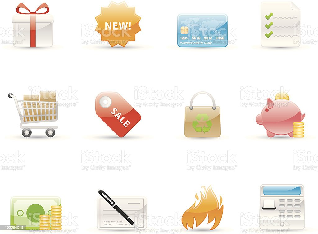 Glossy Icons - Shopping royalty-free stock vector art