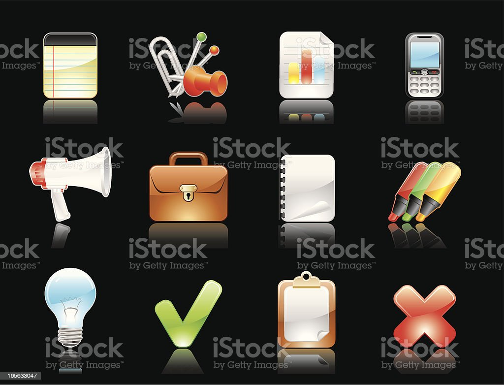 Glossy icons(Reflections on black background) royalty-free stock vector art