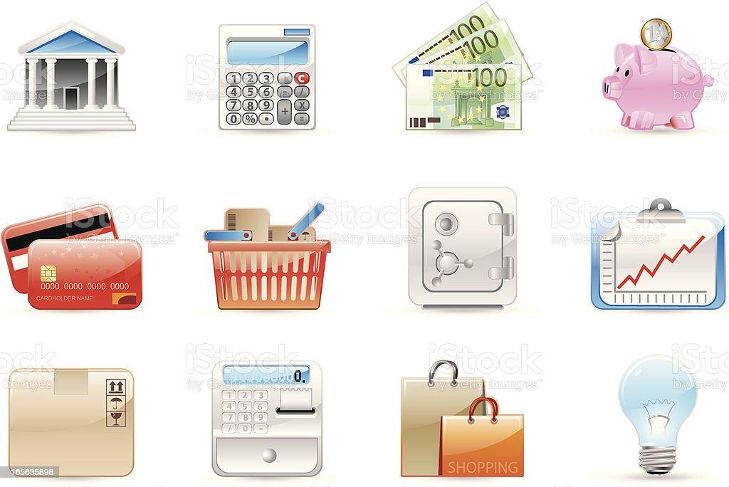 Glossy icons vector art illustration