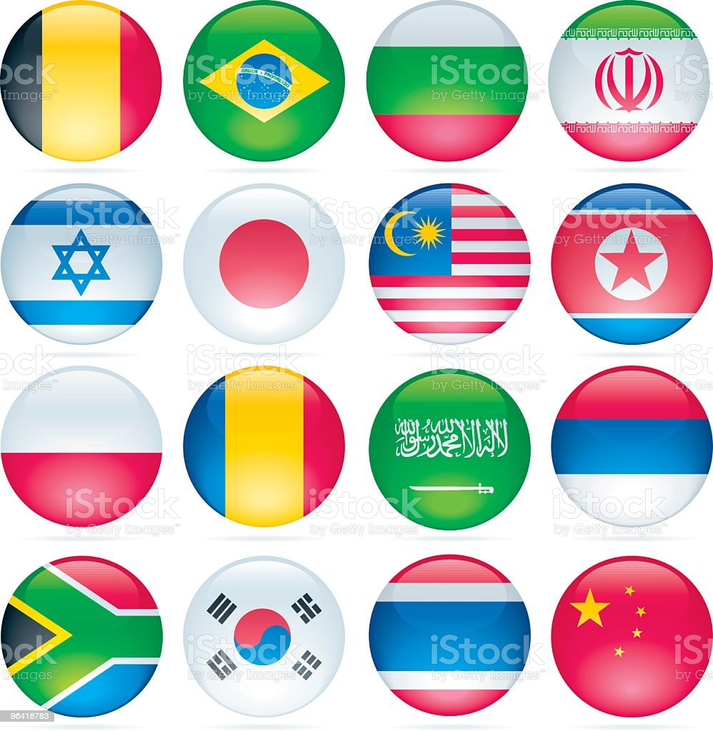 Glossy International Flag Buttons royalty-free stock vector art