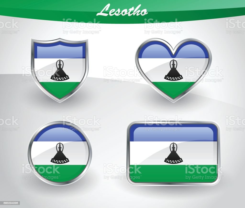 Glossy Lesotho flag icon set vector art illustration