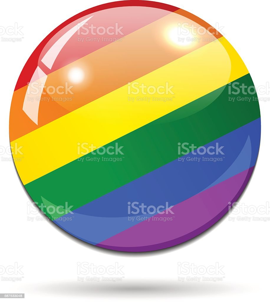 Glossy LGBT button on white background with shadow vector art illustration