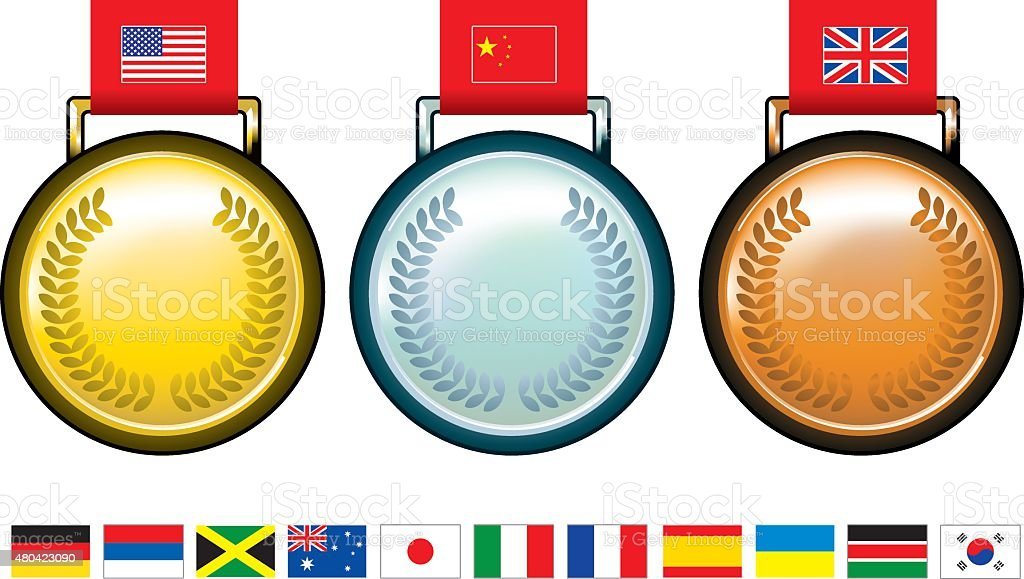 glossy olympic medals with flags vector art illustration