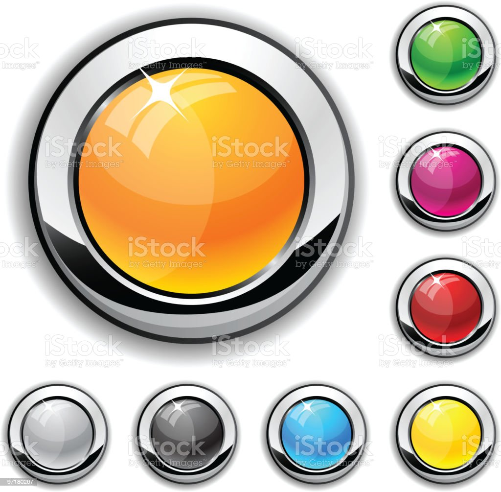 Glossy metallic buttons. royalty-free stock vector art