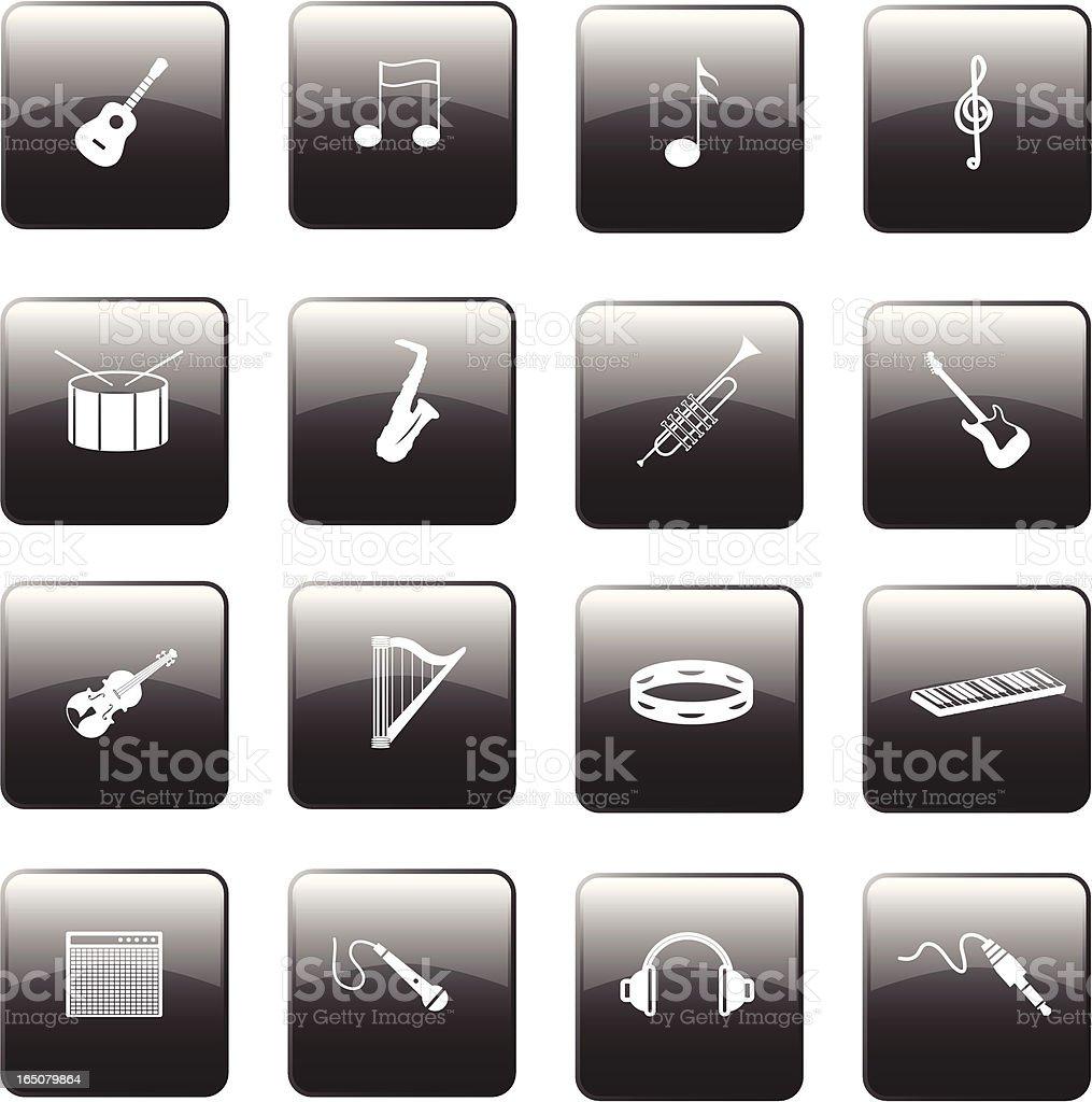 Glossy Music Buttons vector art illustration