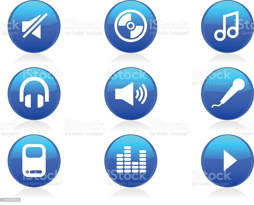 Glossy Music Icons and Buttons royalty-free stock vector art