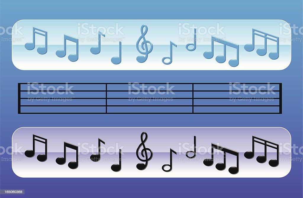 Glossy Music Notes vector art illustration
