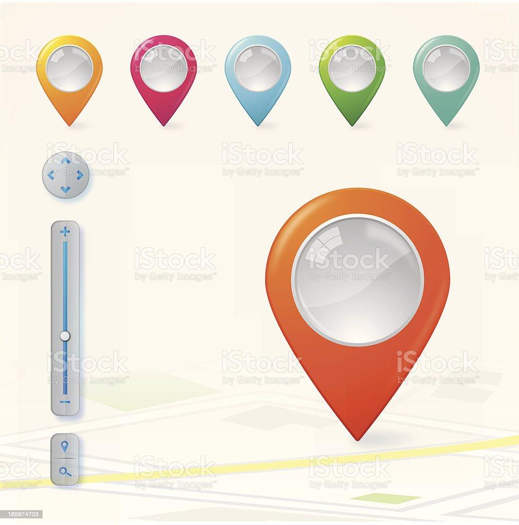 Glossy navigation pointers vector art illustration