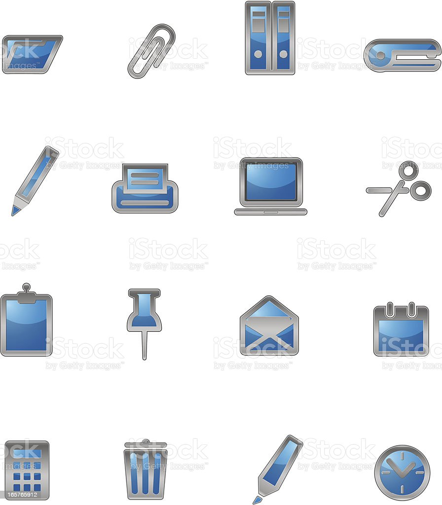 Glossy Office icons royalty-free stock vector art