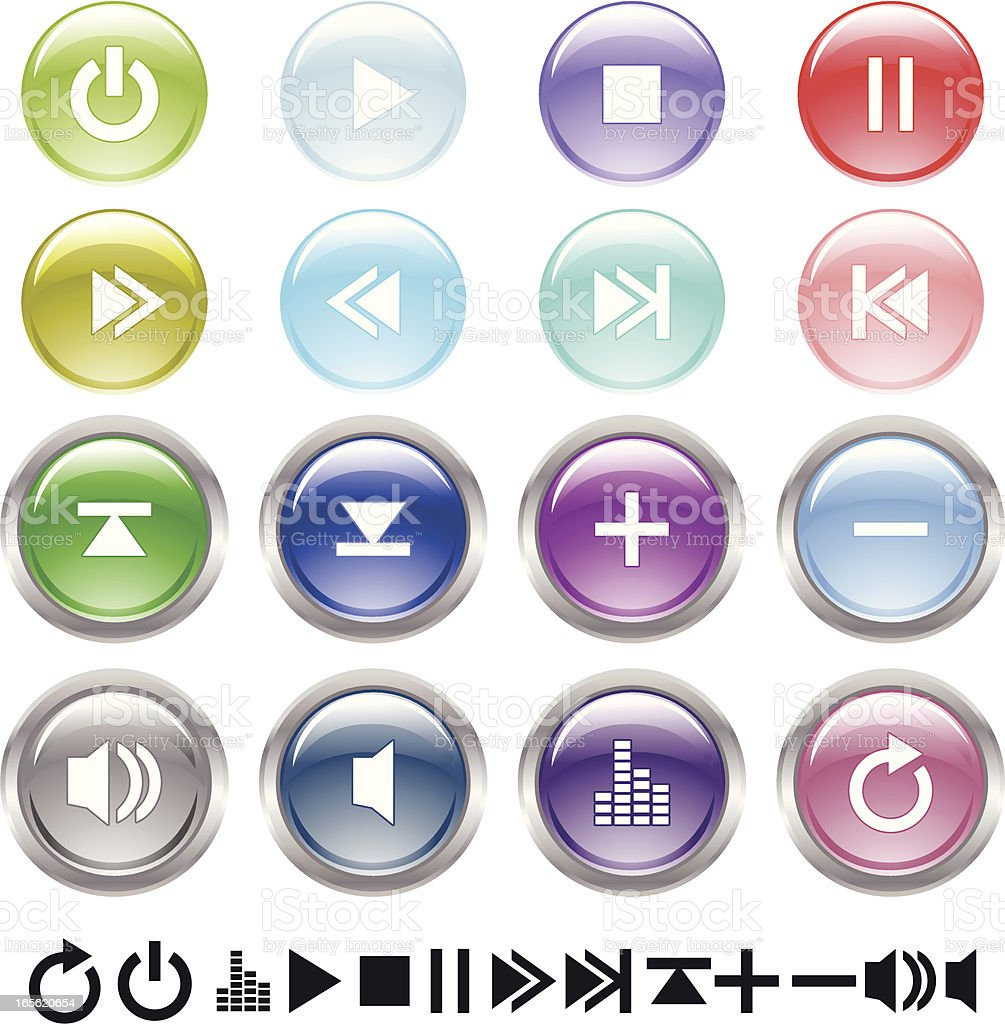 Glossy player buttons . royalty-free stock vector art