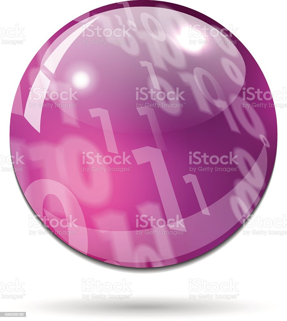 Glossy purple pink button with binary code vector art illustration