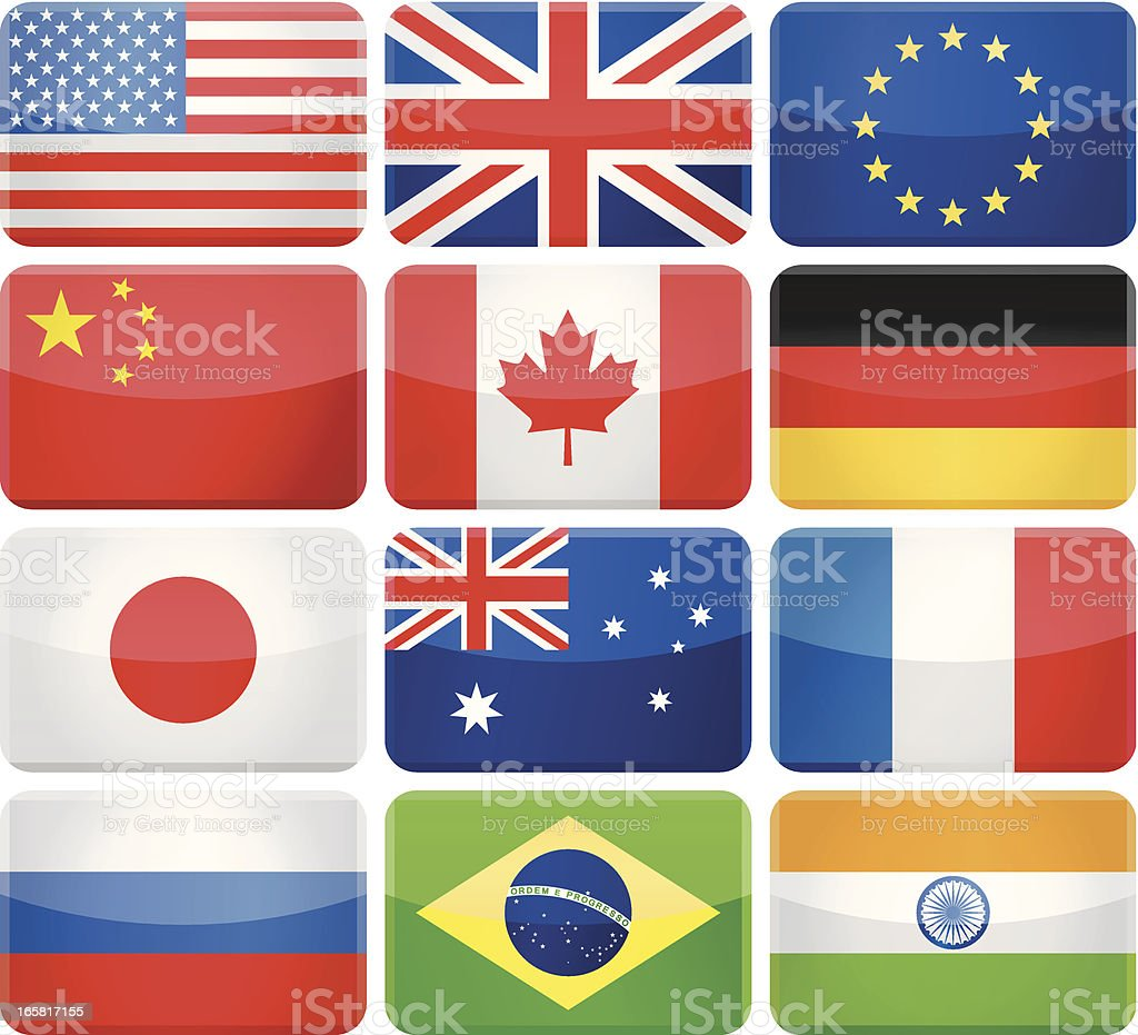 Glossy rectangle rounded flags - Most popular royalty-free stock vector art