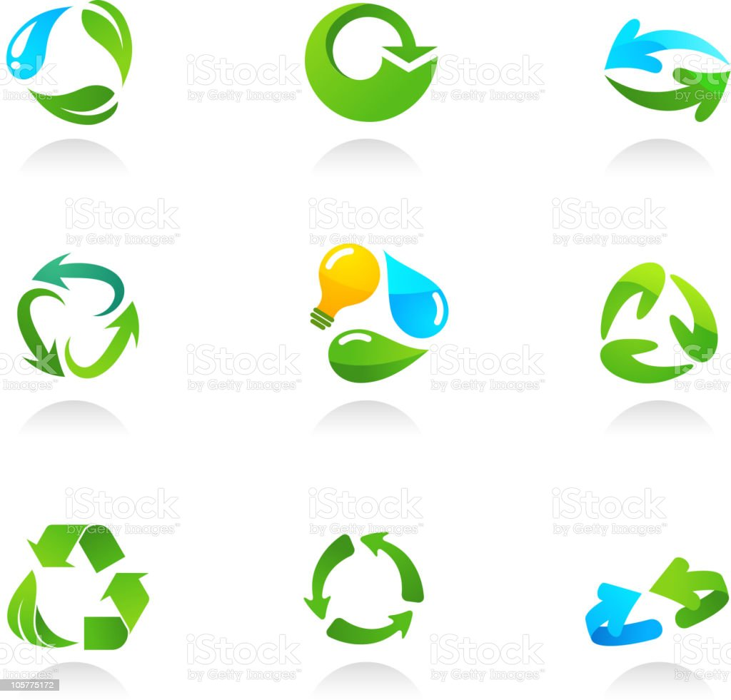 Glossy recycling icons vector art illustration