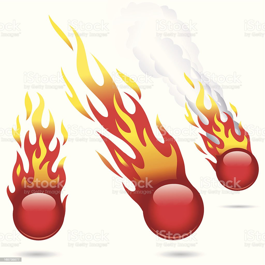 Glossy Red Fireballs vector art illustration