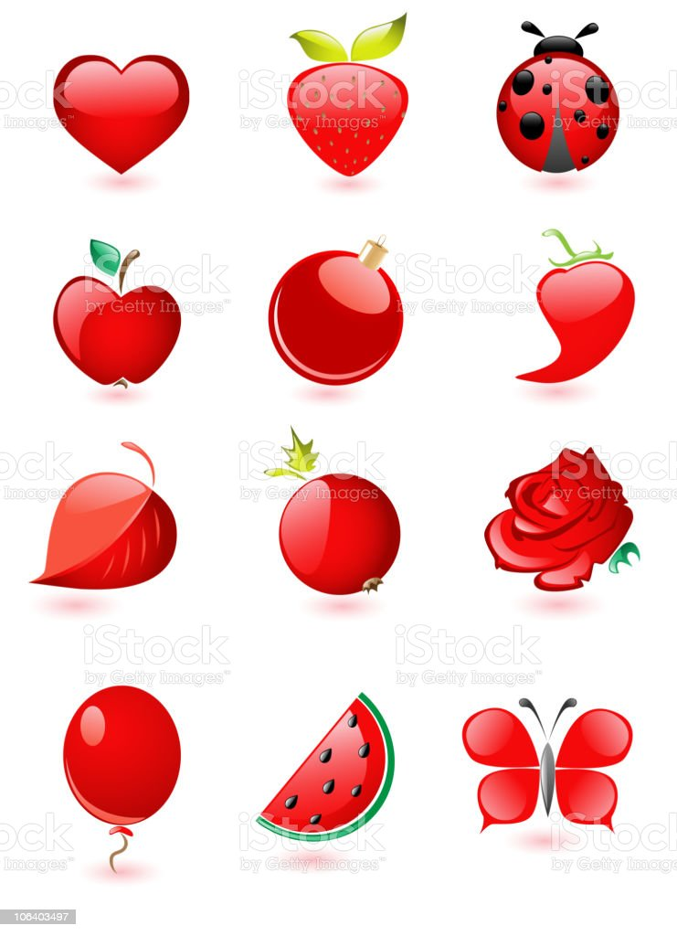glossy red icons vector art illustration