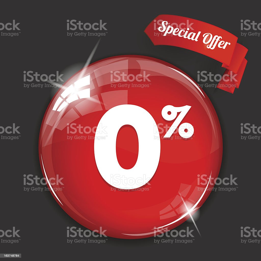 Glossy red round 0% button vector art illustration