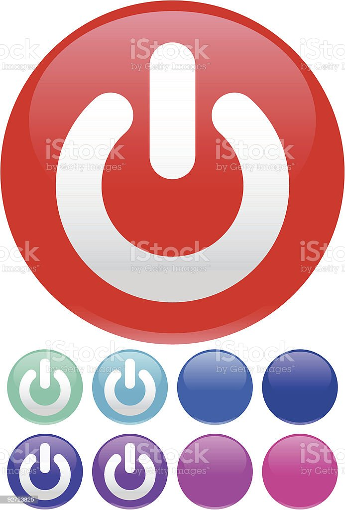 Glossy Round Power Button vector art illustration