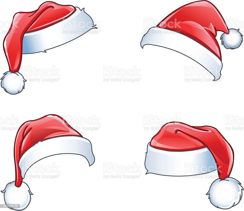 Glossy santa hats vector art illustration