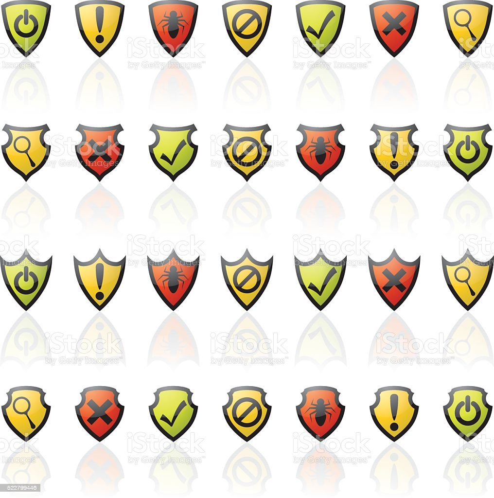 Glossy Shield Icons vector art illustration