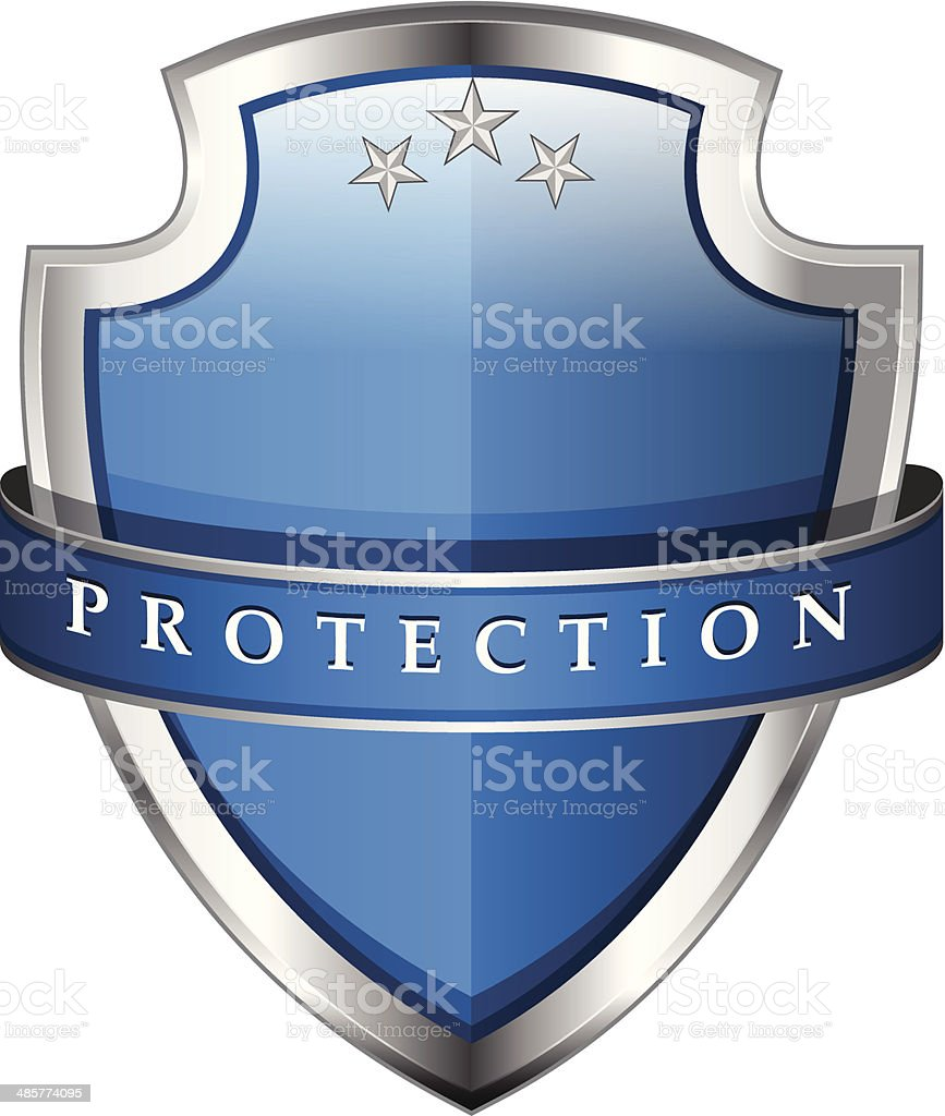 Glossy Shiny Blue Vector Shield Protected Icon vector art illustration
