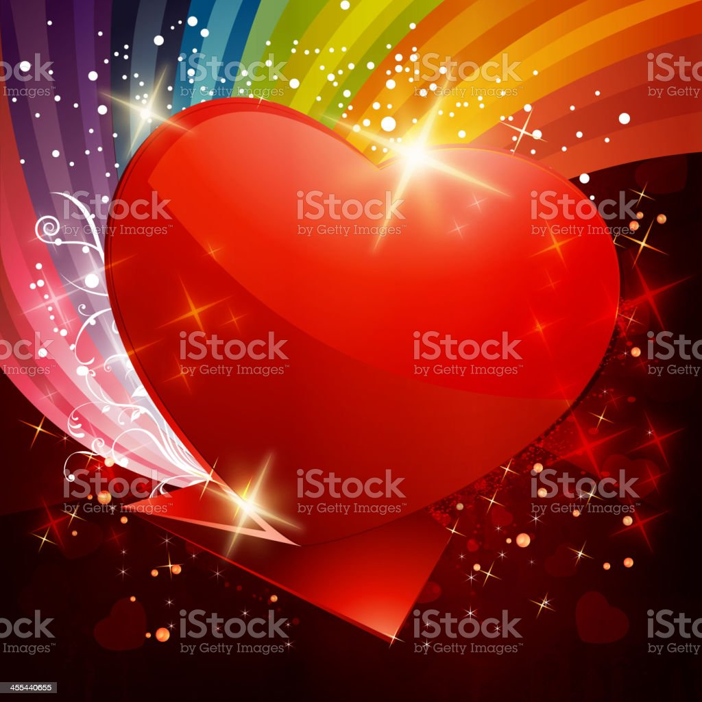 Glossy Shiny Origami Heart with Colorful Grunge Background royalty-free stock vector art
