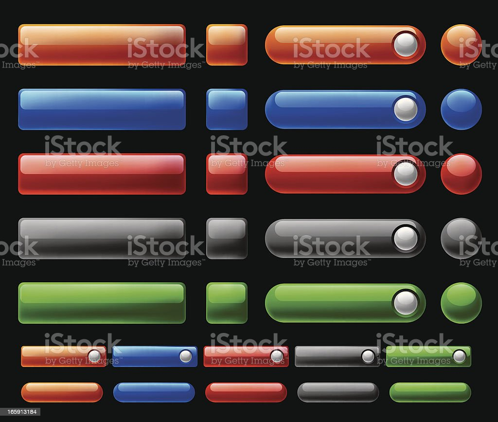 Glossy, Shiny Web Interface Buttons royalty-free stock vector art