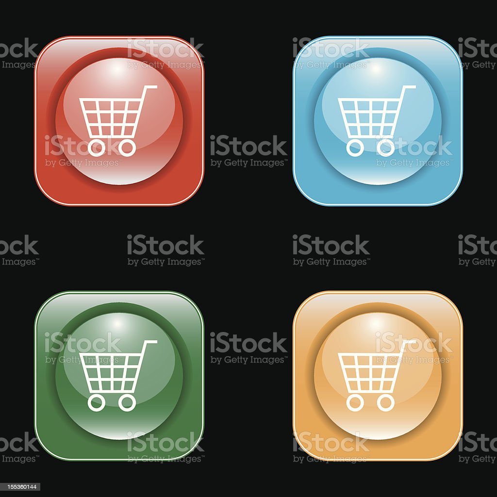 Glossy Shopping Cart Icon Buttons royalty-free stock vector art